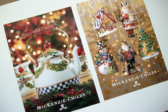 Mackenzie Childs Christmas.Two Xl 8 5 X 6 Mackenzie Childs Christmas Holiday Product Cards Featuring Retired Pieces Blank Back