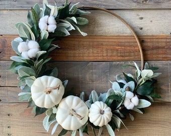 Fall Wreath, Olive Branch Wreath, White Pumpkin Decor, Autumn Door Wreath, Cotton Wreath, Greenery Fall Wreath, Thanksgiving Home Decor