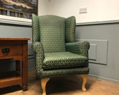 Green Patterned Wingback Fireside Chair