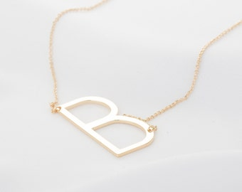 large letter necklace oversized silver big initial charms rose gold sideways statement layering monogram alphabet pendant gift for woman