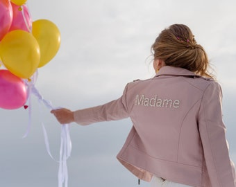 Custom bride pink faux leather jacket, personalized pearl monogram or text - wedding gift / bachelorette hen party