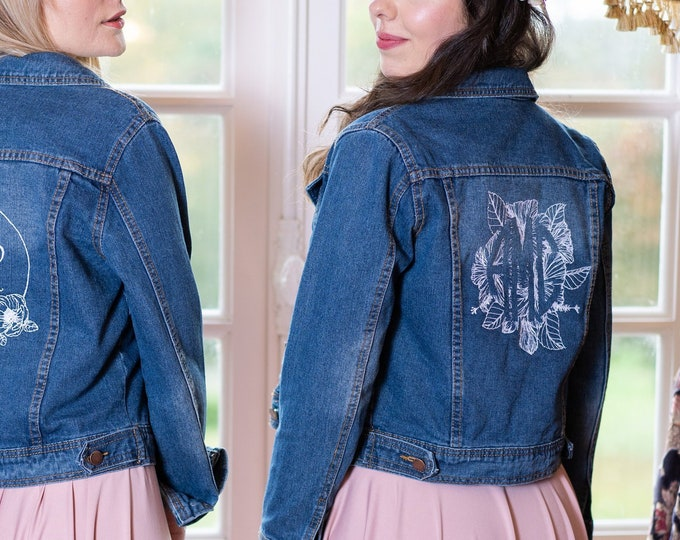 Denim bridal jacket custom embroidery design – personalized monogram - wedding gift / bachelorette hen party