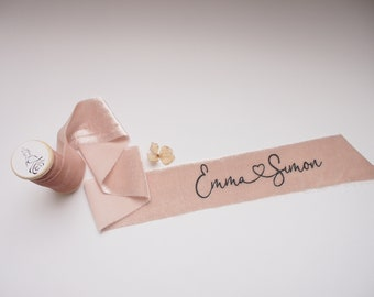 Nude pink silk velvet ribbon - personalized calligraphy - bridal bouquet decoration
