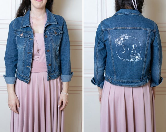 Denim bridal jacket custom embroidery design – personalized wedding gift / bachelorette hen party