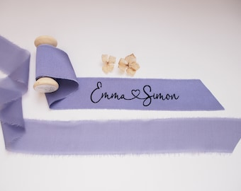 Glycine purple silk satin ribbon - personalized calligraphy - bridal bouquet decoration