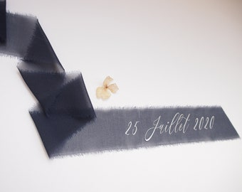 Navy blue silk georgette ribbon - personalized calligraphy - bridal bouquet decoration