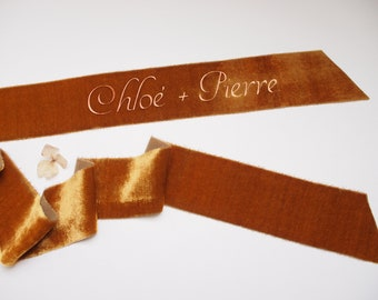 Golden ocher Yellow silk velvet ribbon - personalized calligraphy - bridal bouquet decoration