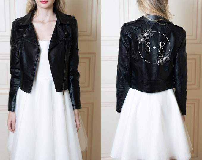Custom bride black faux leather jacket, personalized wedding gift / bachelorette hen party