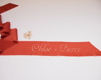 Terracotta silk satin ribbon - personalized calligraphy - bridal bouquet decoration