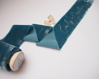 Peacock Blue silk velvet ribbon - personalized calligraphy - bridal bouquet decoration