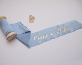 Light Blue silk satin ribbon - personalized calligraphy - bridal bouquet decoration