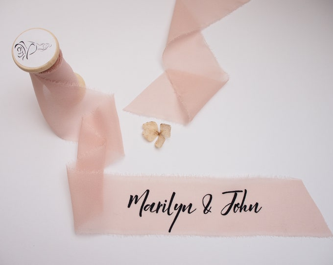 Featured listing image: Light pink silk georgette ribbon - personalized calligraphy - bridal bouquet decoration