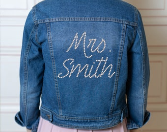 Denim bridal jacket, personalized pearl monogram or text - wedding gift / bachelorette hen party