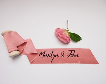 Dark pink silk satin ribbon - personalized calligraphy - bridal bouquet decoration