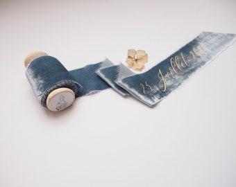 Dusty blue silk velvet ribbon - personalized calligraphy - bridal bouquet decoration