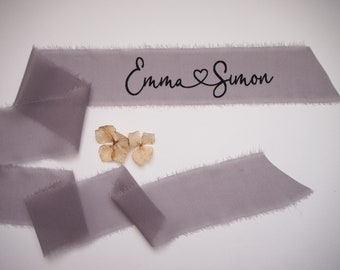 Dusty mauve silk georgette ribbon - personalized calligraphy - bridal bouquet decoration