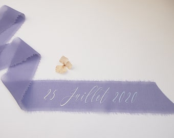 Glycine purple silk georgette ribbon - personalized calligraphy - bridal bouquet decoration