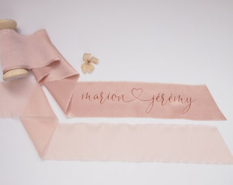 Light pink silk satin ribbon - personalized calligraphy - bridal bouquet decoration