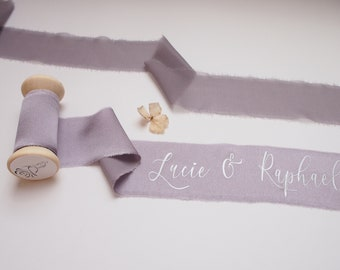 Dusty mauve silk satin ribbon - personalized calligraphy - bridal bouquet decoration