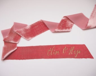 Peony pink silk velvet ribbon - personalized calligraphy - bridal bouquet decoration