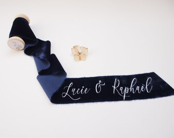 Navy blue silk velvet ribbon - personalized calligraphy - bridal bouquet decoration