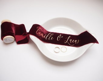 Bordeaux red silk velvet ribbon - personalized calligraphy - bridal bouquet decoration