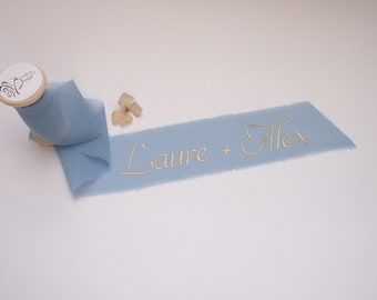 Light blue silk georgette ribbon - personalized calligraphy - bridal bouquet decoration