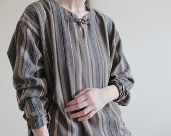 Striped Hooded Long Sleeved Grandad Shirt Hippy Festival Nepal Casual Loose Fit