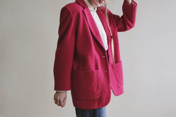 Vintage COAT Red Midi Women's Fleece Classic Women