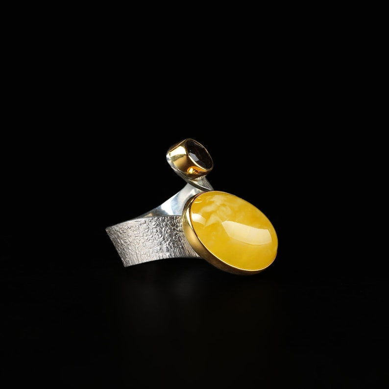 Amber ring Silver Ring with Natural Amber and Quartz