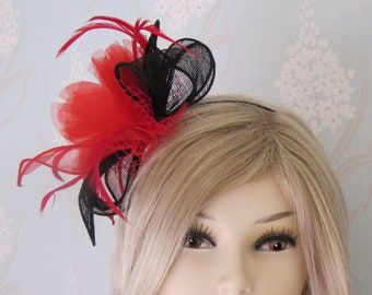 03f609f0facdd Black Red Sinamay Feather Net Fascinator on Satin Headband Bridal Prom  Races Race Day Wedding Hair Piece Ascot Races Kentucky Derby Hat