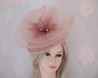 fa65a5b5 Nude Saucer Disc Pleated Feather Fascinator on Headband Alice Band Bridal  Prom Races Race Day Bridal Hair Piece Ascot Kentucky Derby
