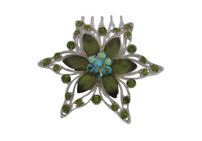 Silver Plated Green Glass and Crystal Flower Hair Comb Wedding Jewelry Bridal Hair Comb Headpiece Hair Accessory Bridal Whimsical Wedding