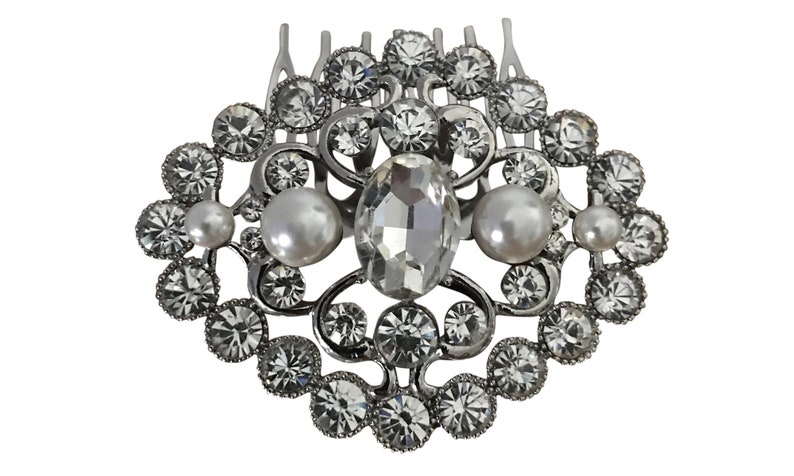 Silver Plated Clear Crystal and Pearl Wedding Hair Comb Bridal Hair Comb Headpiece Hair Accessory Bridal Jewelry Barn Wedding Whimsical