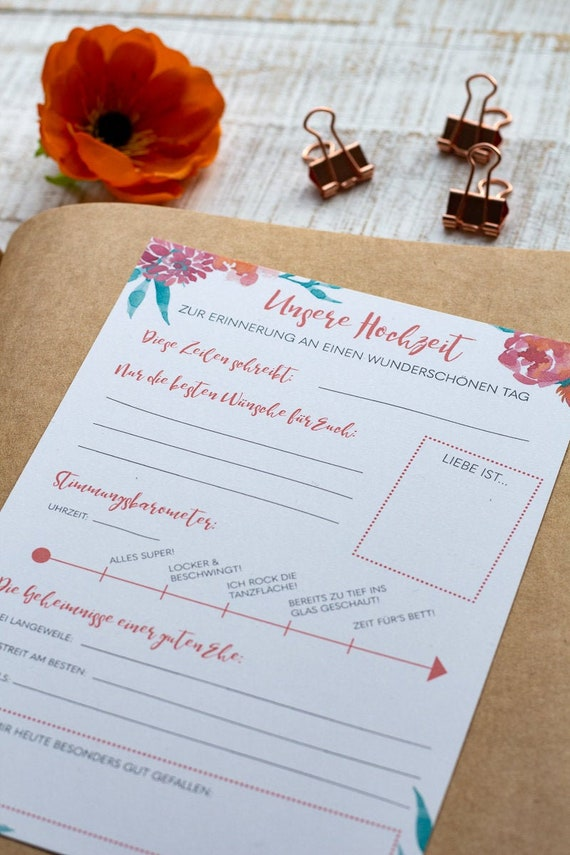 Guest Book Cards Wedding In Set Of 10 Creative Diy Idea Question Cards To Fill A5 Wedding Guest Book Watercolor Flowers