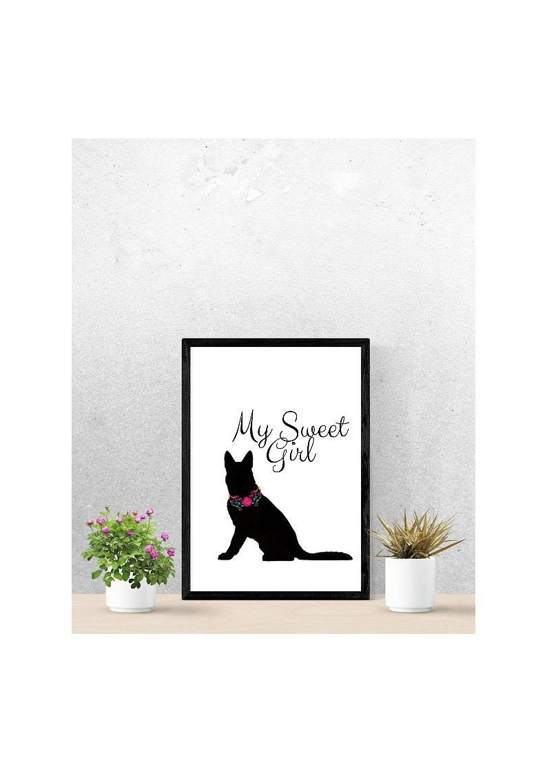Alsatian Girl Picture Print with FlowerFloral Collar Wall or Frame Art Printable download Dog lover animal decor