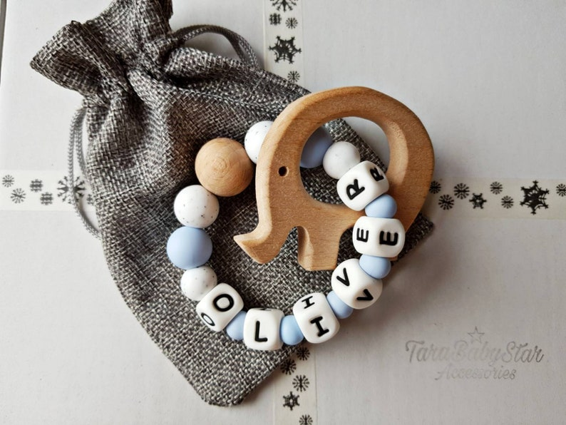 Personalized Teething Ring And Rattle