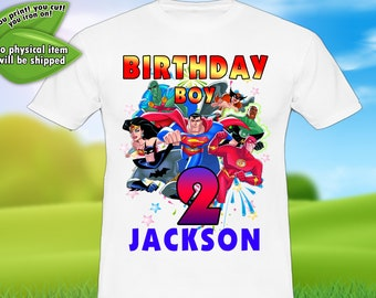 Justice League Iron On Transfer Birthday Personalize Digital Item Only