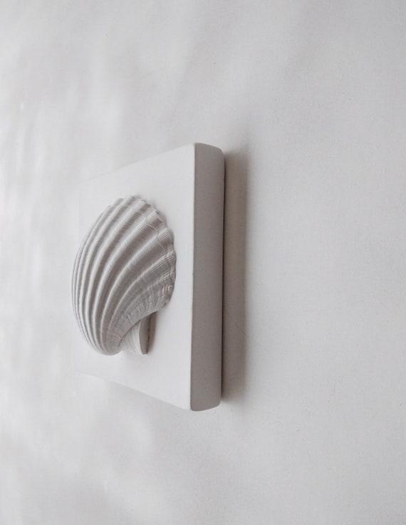 Bathroom Decor 3d Plaster Shell Wall Art Tile Sea Shell Wall Etsy