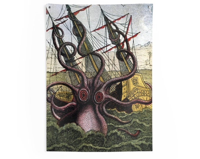Kraken Attacks Ship v2, Indoor Wall Tapestry, Vintage, Antique Illustration, Pierre Denys de Montfort, 1801