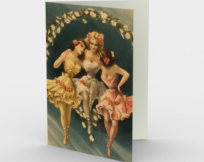Best Friends - Stationery Cards (3), With An Image From An Antique Vintage Burlesque Poster, Circa 1897.