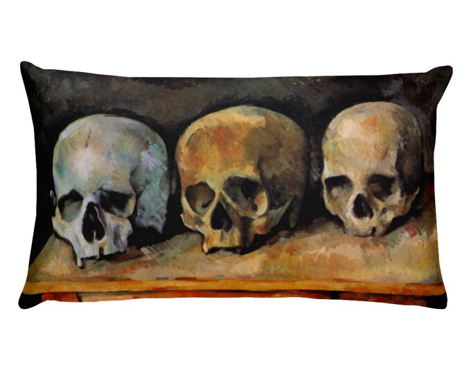Three Skulls, All-Over Print Basic Pillow Case With Stuffing, Vintage, Antique Painting, Paul Cezanne, 1900