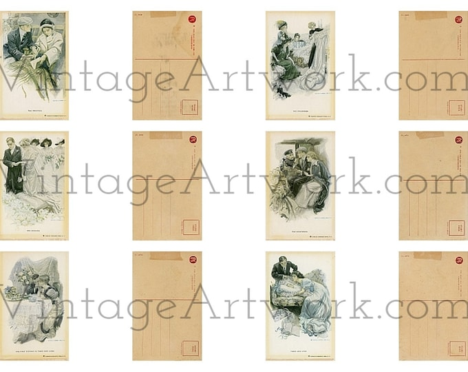 The Greatest Moments In A Girl's Life - Digital Images Of Antique Vintage Postcards by Harrison Fisher. Circa 1911. Set Of Six (6).