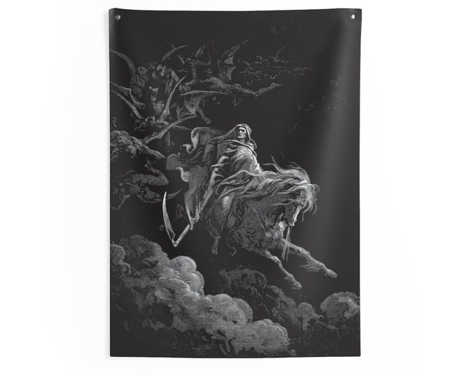 Death On The Pale Horse, Indoor Wall Tapestry, Vintage, Antique Illustration, Gustave Dore, 1865