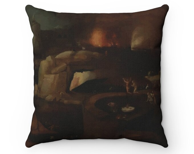 Descent Into Hell, Spun Polyester Square Pillow, Vintage, Antique Painting, Follower Of Hieronymus Bosch, Circa 1550