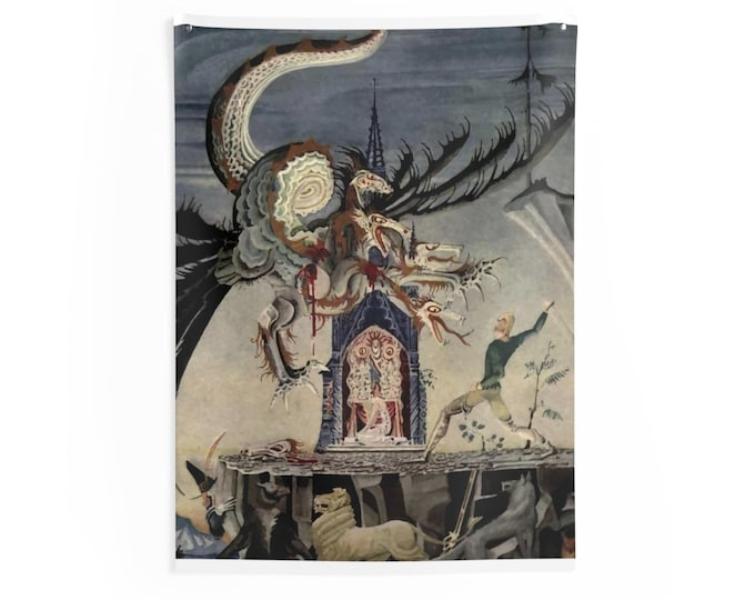 Woodsman Fights Seven Headed Dragon, Indoor Wall Tapestries, Vintage, Art Deco, Antique Watercolor, The Two Brothers, 1921