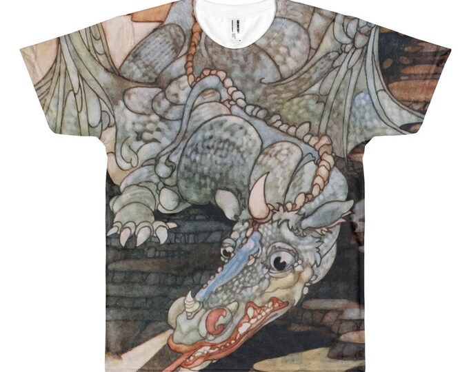 Here Be Dragons, Unisex All-over Print Tee, Vintage Art Nouveau Illustration