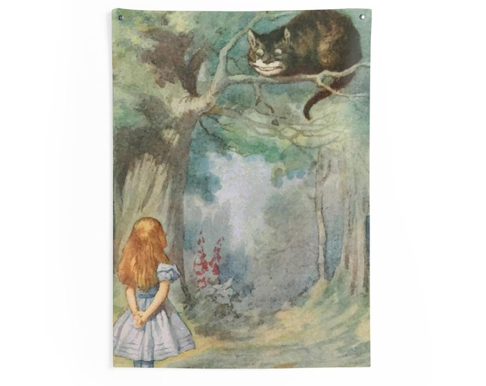 Alice Meets The Cheshire Cat, Indoor Wall Tapestry Vintage Illustration, 1911 Edition Alice's Adventures In Wonderland