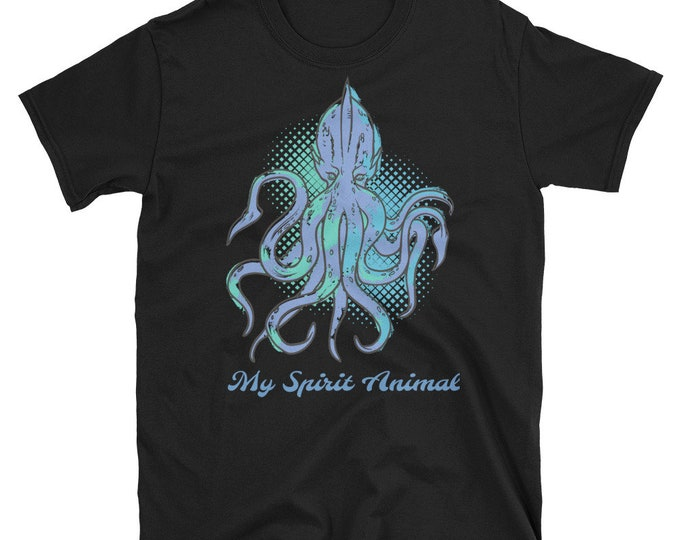 My Spirit Animal, Short-Sleeve Unisex T-Shirt, Vintage Inspired Sea Monster, Giant Squid