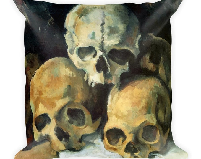 Pyramid Of Skulls, All-Over Print Basic Pillow Case With Stuffing, Vintage, Antique Painting, Paul Cezanne, 1900